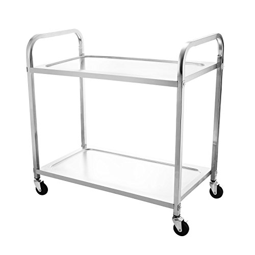 LOVSHARE Utility Cart Kitchen Carts With Storage Stainless Steel All-Purpose Industrial Cart With Wheels (2-Shelf)