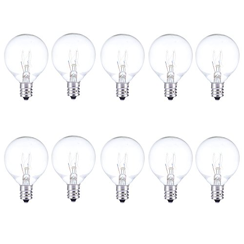 Joyin® Pack of 10 Bulbs,Replacement Glass Bulbs for String Lights with G40 Clear Globe Bulbs(5W,Warm Incandescent,1.5')
