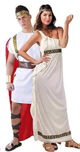 Couples Ladies & Mens Roman Historical Ancient Toga Greek Grecian Olympian Goddess Fancy Dress Costumes Outfits (UK 12-14 - Mens Large)