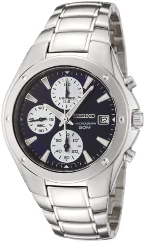 Seiko Men s SNDA97 Chronograph Black Dial Stainless Steel Watch