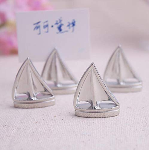 - cute rabbit Shining Sails Boat Silver Place Card Holder Wedding Favors (72)