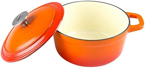 Zelancio 3 Quart Cast Iron Enamel Covered Dutch Oven Cooking Dish with Lid Tangerine Orange