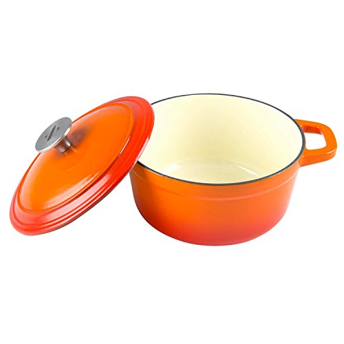 Cast Iron Coating - Zelancio 3 Quart Cast Iron Enamel Covered Dutch Oven Cooking Dish with Lid (Tangerine Orange)