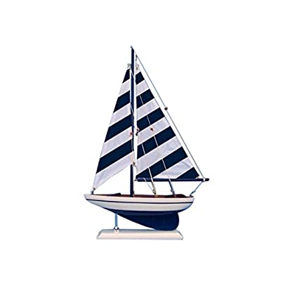 "Hampton Nautical Wooden Blue Striped Pacific Sailer Model Sailboat Decoration, 17"": Toys & Games"