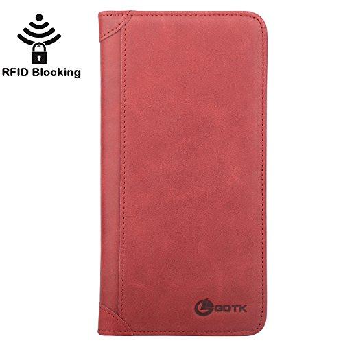 - Women's Wallet - Genuine Italian Leather Long Bifold RFID Blocking Wallet (Wine Red)