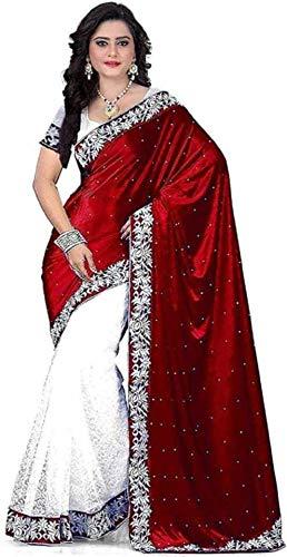 Impression Fab Womens Embellished Bollywood Velvet Net Saree