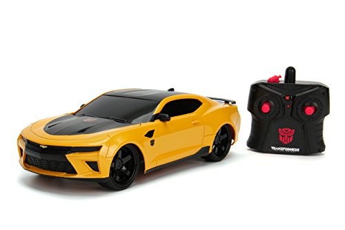 Jada Toys Transformers The Last Knight Bumblebee 2016 Chevy Camaro RC Car, 1:16 Scale Remote Control Vehicle, Yellow & Black