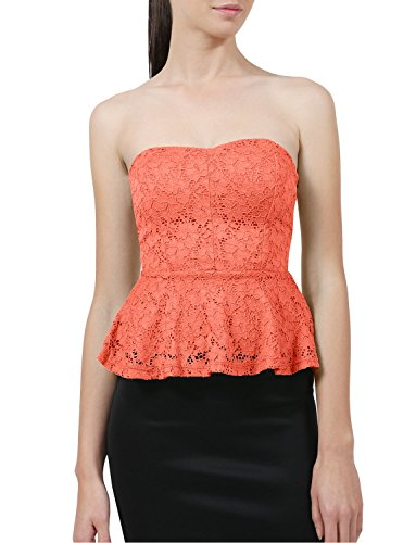 NE PEOPLE Womens Light Weight Stretch Peplum Floral Lace Flare Strapless Dress Top-NEONCORAL-S