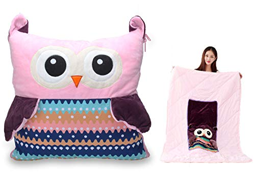 """Alpacasso Owl Stuffed Animal Plush Blanket & Cuddly Pillow & Seat Back Cushion 3-in-1 Combo, Super Soft Flannel Blanket 39"""" x 59"""" and Cute Throw Pillow 13"""" x 13"""" ()"""
