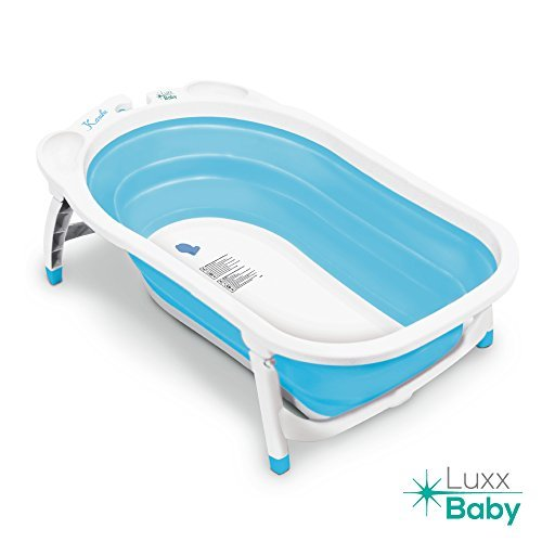 Luxx Baby BF1 Folding Bath Tub by Karibu w/Non-Slip Mat (Light Blue)