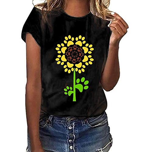 Sunflower T-Shirt for Women Cute Graphic Tee Teen Girls Summer Short Sleeve Blouse Tops ()
