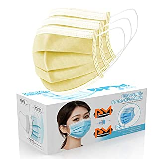 [50 Pc/Box] Face Mask Disposable Non Surgical 3-Ply Earloop Mouth Cover Masks- Yellow (USA Seller in stock)