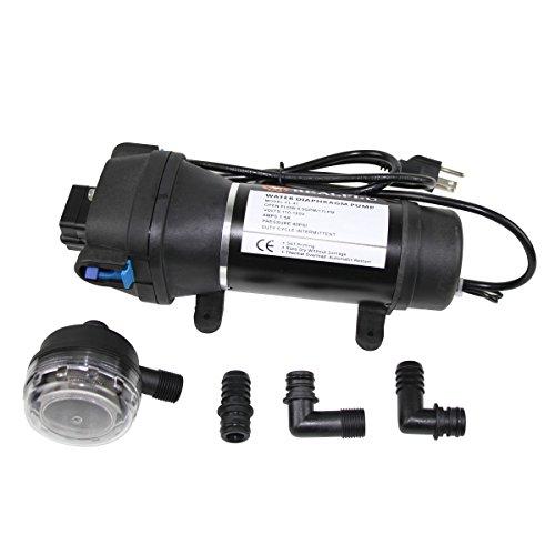 HUNE Upgrade AC110V Self Priming Water Pressure Diaphragm Pump 4.5GPM 17L/min 40Psi Caravan/RV/Boat/Marine(Ship from USA, Tax Included) (110V 40PSI)