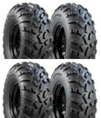 Full set of Carlisle AT 489 ATV Tires; two 25x8-12 and two 25x10-12 - sizes fit many ATVs