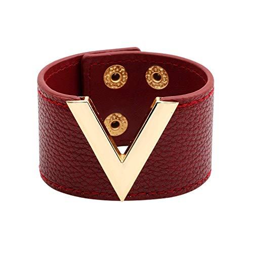 Wide Cuff Leather Wrap Bracelet V Shape 21cm 8 inch Length (Maroon)