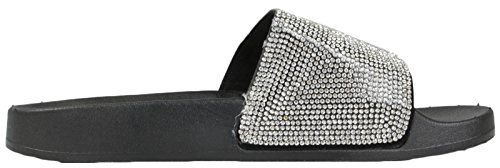 Lora Dora Womens Diamante Faux Fur Sliders Black/Silver Diamante Hr2IRXX