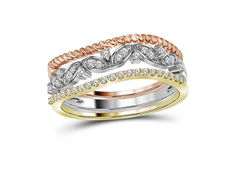 (10K Tri Color Gold Diamond Floral Stackable Band Ring 1/5 Ctw.)