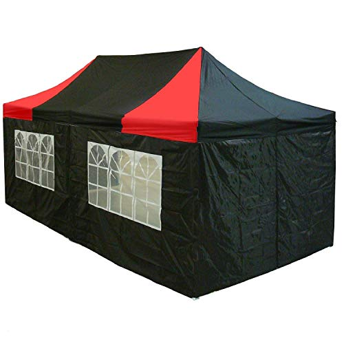 10 x20 Pop up 6 Walls Canopy Party Tent Gazebo Ez Black Red – E Model BY DELTA Canopies