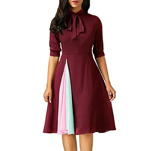 ❤️ Vestidos de Fiesta Mujer,Modaworld Vestido Casual de Manga Larga para Mujer Vestido de Fiesta de Noche para Mujeres Elegante Ropa de Cóctel Falda niña Vestir rojo