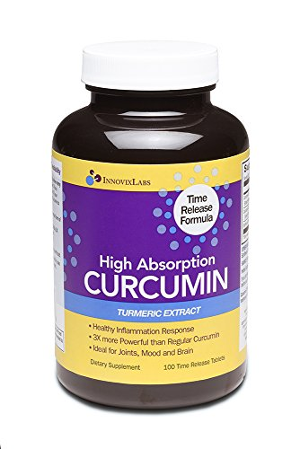 High Absorption CURCUMIN TURMERIC Extract (by InnovixLabs). 100 Time Release Tablets. Curcumin C3 Reduct + Curcumin C3 Complex + BioPerine. 3X More Powerful than regular Curcumin extracts. - Extract 100 Tablets