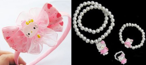 Gift Set: Charm Hello Kitty Necklace Ring Bracelet Set and 1pc Hello Kitty Hairband Hair Clip Girls Gift