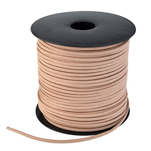 (Wobe 100 Yards Suede Cord, Leather Cord 2.6mm x 1.5mm Suede Lace Faux Leather Cord with Roll Spool Beading Craft Thread for Bracelet Necklace Beading DIY Handmade Crafts Thread (Brown))