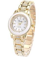 SIBOSUN Dame Femmes Montre-Bracelet Quartz Or Bande en Acier Inoxydable Cristal Blanc Cadran Dress Fashion Bracelet