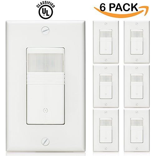 Sunco Lighting 6 Pack Vacancy & Occupancy Motion Sensor Wall Switch, UL LISTED, Title 24 Qualifed, 180° Field View, Automatic and Manual ON/OFF, Neutral Wire Required, White