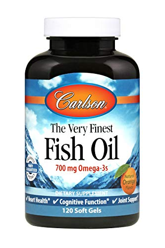Carlson Norwegian The Very Finest Fish Oil, Orange, 700 mg Omega-3s, 120 Soft Gels