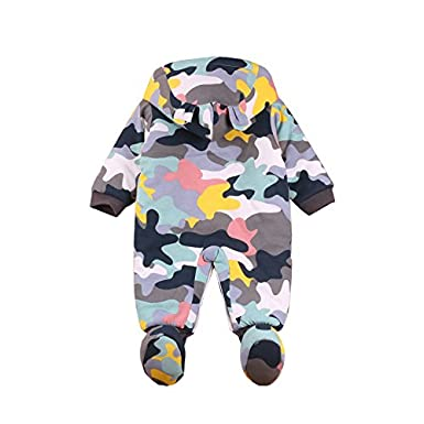Weiyun Toddler Newborn Baby Boys Girls WRM Cartoon Hoodie Rompers Outfits Clothes