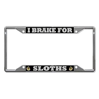 License Plate Covers I Brake For Sloths Animal Chrome License Plate Frame Tag Holder Four Holes - Bobbit