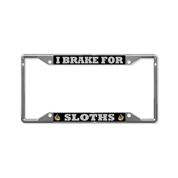 License Plate Covers I Brake For Sloths Animal Chrome License Plate Frame Tag Holder Four Holes -