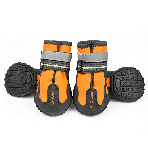 Skid Dog Boots (MR-BABULA Dog shoes, outdoor mountaineering waterproof anti-skid, relective banded dog boots(orange,size 6))