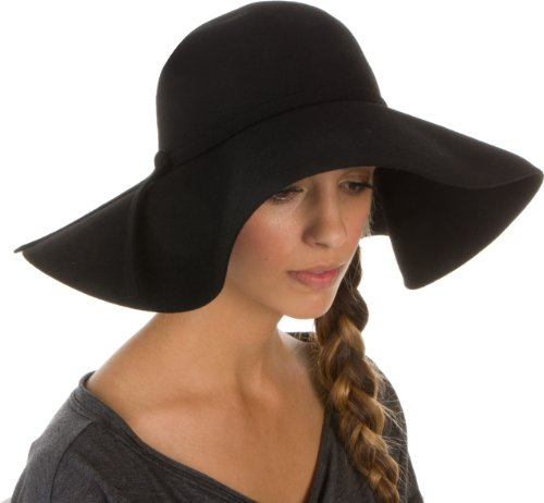 Sakkas Womens 100% Wool Wide Brim Foldable Floppy Hat