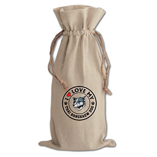 Canvas Wine Drawstring Bag I Love My Thai Bangkaew Dogdog Style 1 Style In Print by Style in Print