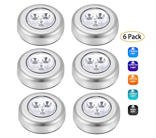 Sorxine LED Touch Light Stick On Lights Battery Led Light Puck Light Led Battery Powered Operated 6 Pack,Battery Powered Light,Lap Light for Closet,Under Cabinet,Counter,LED Lights