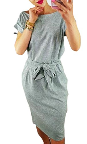 Vintage Summer Dress Cromoncent Party Slim Women's Mid Neck Long Gray Round Evening Evr5rq