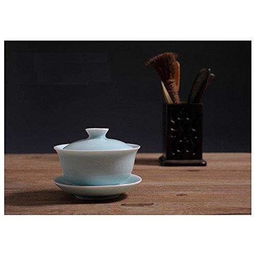Handmade Celadon Green Pottery Gaiwan 4.3oz Teacups and Saucer Set (1, Sky Blue)