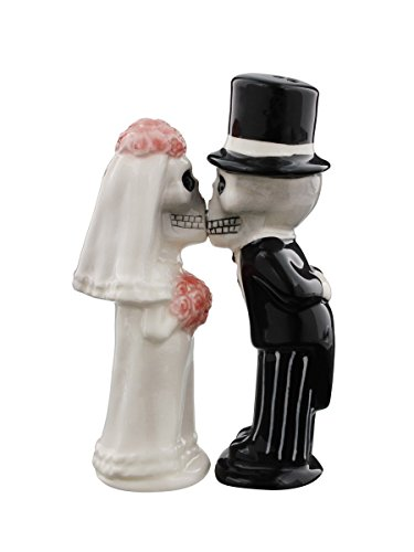 Bride & Groom Skeletons Kissing Magnetic Salt & Pepper Shakers -
