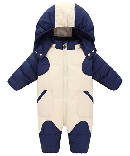 GainKee Baby Girl and Boy Snowsuit Duck Down Jacket Kids Snow Wear Hooded Puffer Jumpsuit Winter Warm Romper (Medium - [ height 2'3