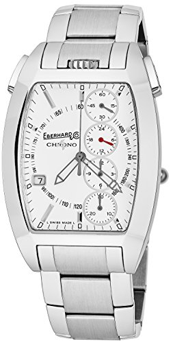 Eberhard & Co Chrono 4 Temerario Mens Stainless Steel Automatic Chronograph Watch - Tonneau White Face Casual Swiss Watch For Men 31047.1]()