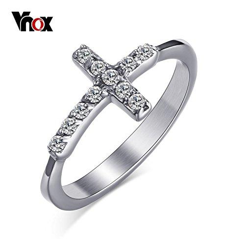 Cherryn Jewelry Sideway Cross Wedding Ring Platinum CZ Stone Engagement Ring Jewelry Women