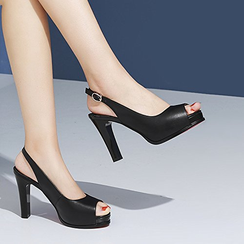 Sauvage de DKFJKI de de Avec Talons des Mode en Hauts Femmes Mode Plate Chaussures Sandales Forme Rugueuse Fête Black Bouche des Poisson Chaussures Cuir Femmes de étanche rPwxSBXPq