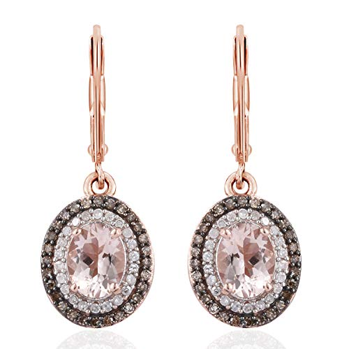 Morganite Diamond Silver Lever Back Earrings 925 Sterling Silver Vermeil Rose Gold Jewelry for Women Ct 2.3 ()