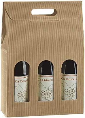 5 cajas para 3 botellas de vino verticales modelo Bordolese, borgoña robusta para Navidad cartón acoplado y asa exterior 27 x 9 x 38,5 h cm onda habana: Amazon.es ...
