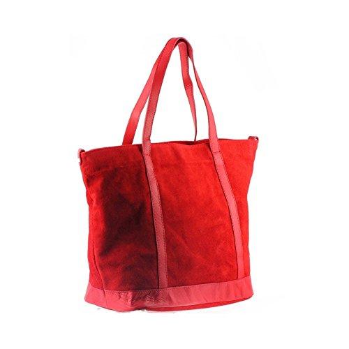 velours Olivia Sac II 33 Cuir shopping 43 Cuir étudiante Noir X Rouge CM Sac PARME XqgrEX