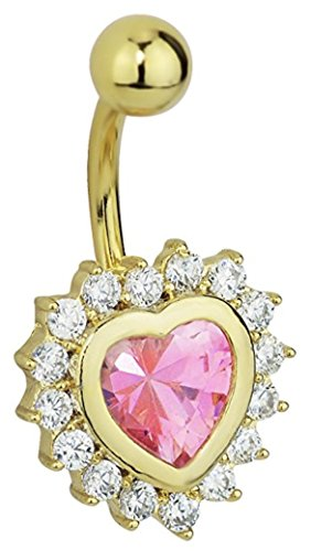 (14k Gold Plated Surgical Steel Fancy CZ Crystal Framed Pink Heart Belly Button Ring)