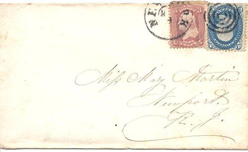 1861 US Postal Cover Fancy Cancel 1 Cent Franklin Postage Stamp Scott #63 Three Cent US Postage Stamp Washington Scott # 65 -