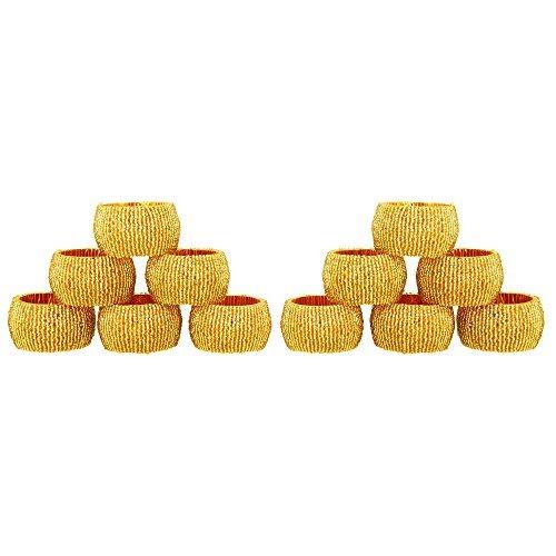 Gold Beaded Napkin Ring - ShalinIndia Handmade Beaded Napkin Rings, Gold (Set of 12)