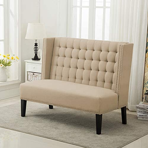 Modern Settee Bench Banquette Button Tufted Sofa Couch Ding Bench Chair 2-Seater